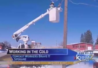 A Nice Shout-Out from KREM 2 News: Comcast Workers Brave Sub-Zero Temperatures