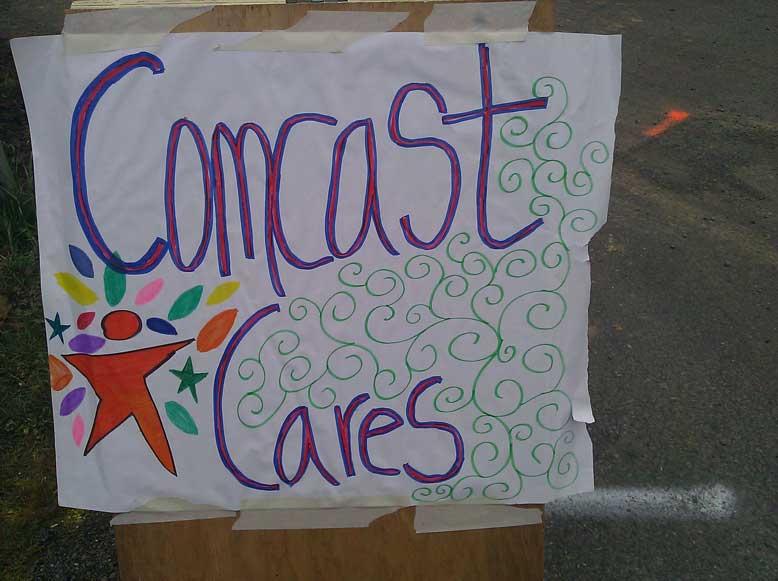 comcast cares day sign