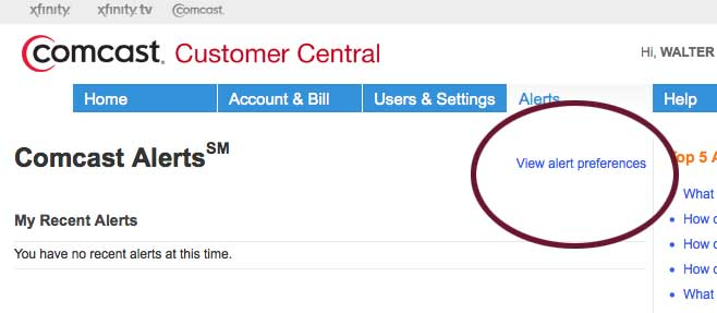 screenshot from Comcast customer central web page