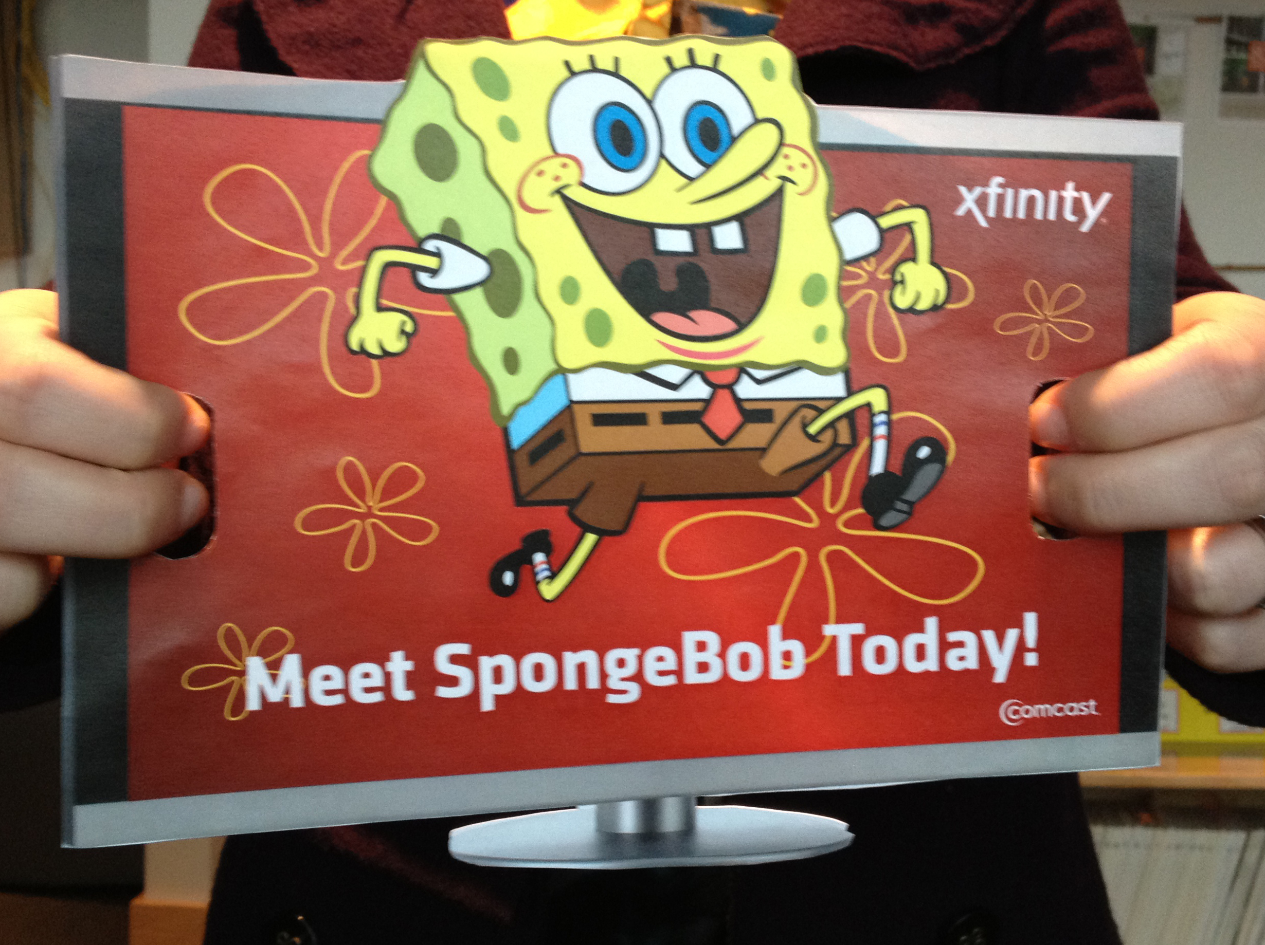Sign announcing SpongeBob Squarepants is in the house