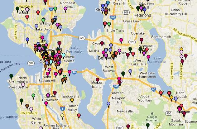 Screenshot of community giving map for Comcast in Washington