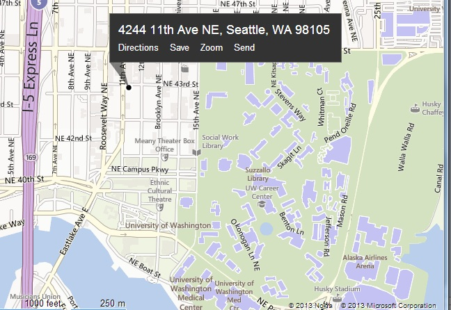 map to UW XFINITY location