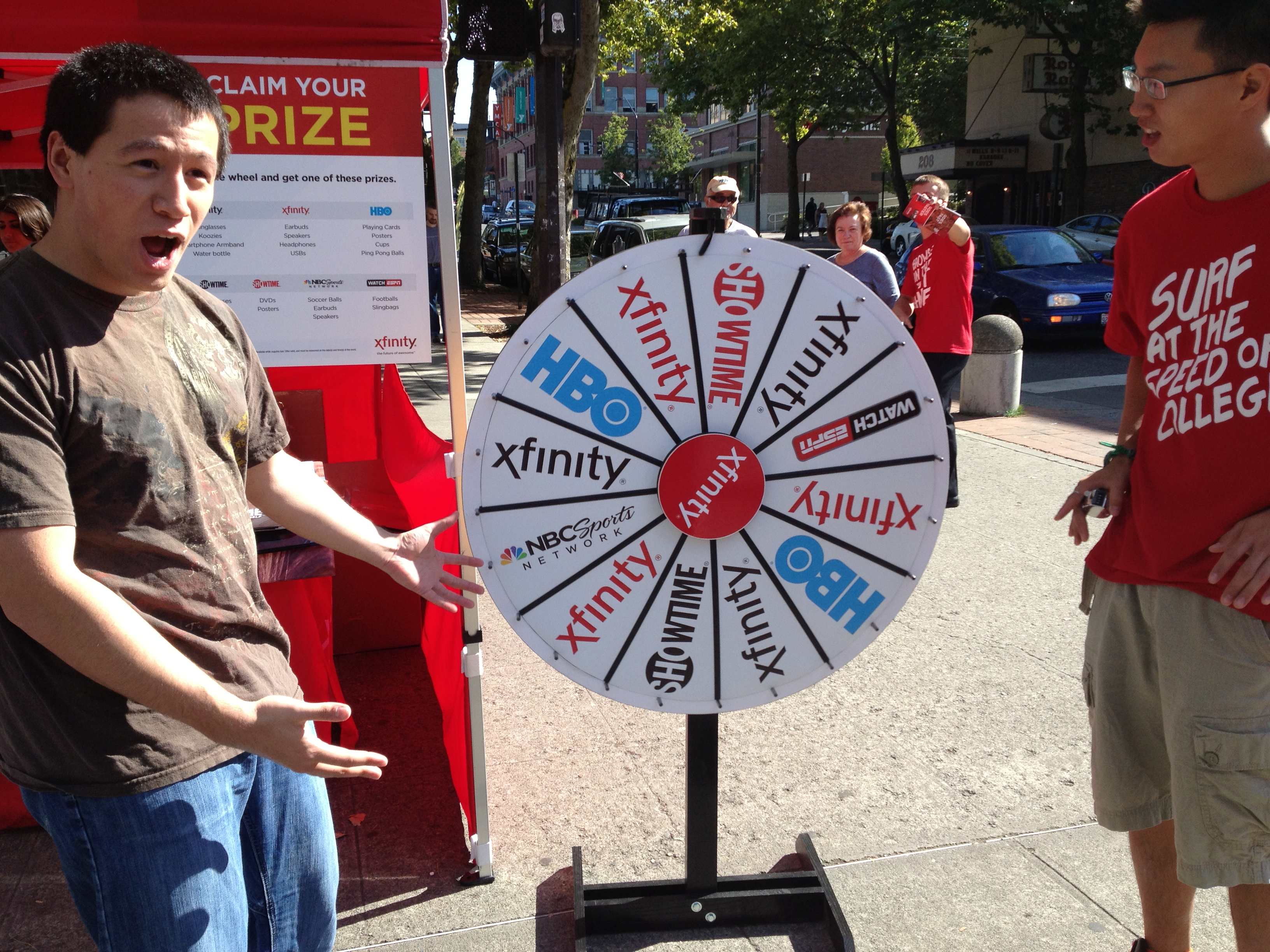 student spins prize wheel