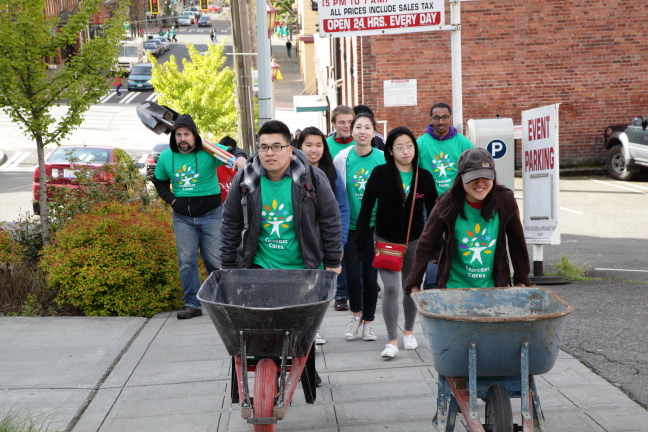 Comcast Cares Day Seattle 2014 International District wheelbarrows