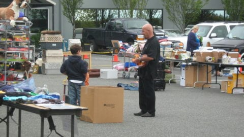 People browsing at Everett garage sale