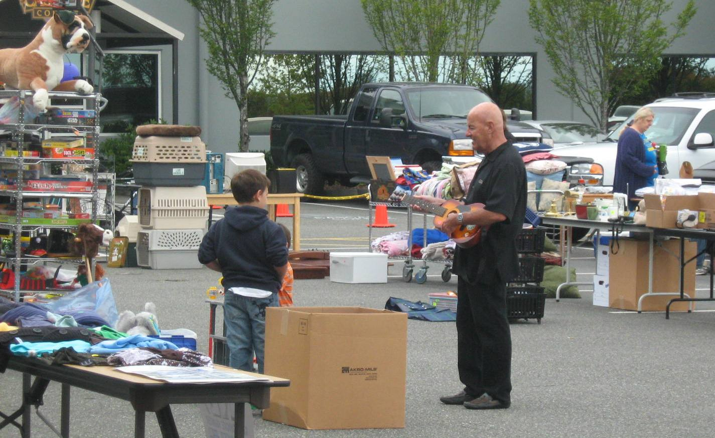 People browsing at garage sale