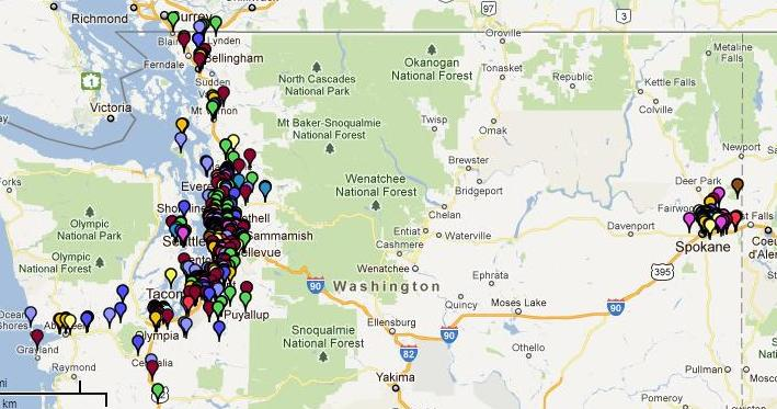 map that shows community giving by Comcast in Washington