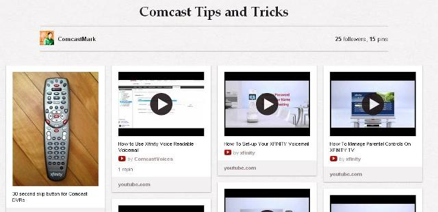 screenshot of ComcastMark's Pinterest page about Comcast self-help resources