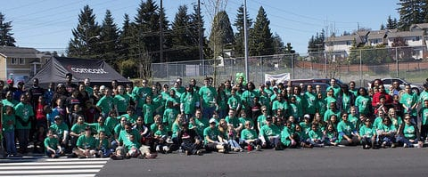 group shot of employee volunteers