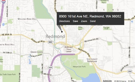 screenshot of map to Redmond XFINITY store