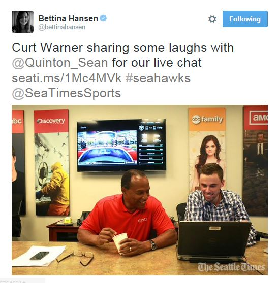 screenshot of Tweet of Curt Warner