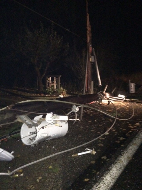 damage to a pole in Olympia