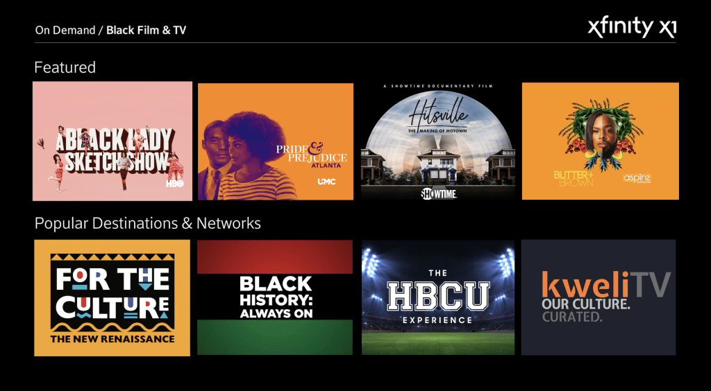 Xfinity TV's 'Black Film & TV' Collection in Washington state