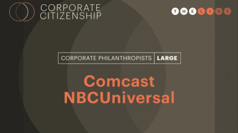 Corporate Philanthropist award announcement for Comcast NBCUniversal